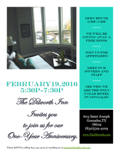 The Dilworth Inn celebrates One Year Anniversary with an Open House @ The Dilworth Inn & Suites | Gonzales | Texas | United States