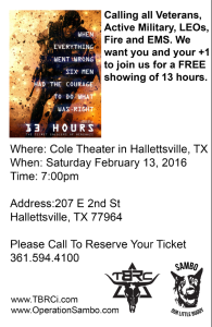 Texas Black Rifle Co. offers FREE Showing of movie 13 Hours @ Cole Theater | Hallettsville | Texas | United States